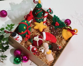 Set of 14 Crochet Christmas Decoration Tree Ornament: baby first Christmas 2021 gift crochet doll Santa, gingerbread man, socks, snowman