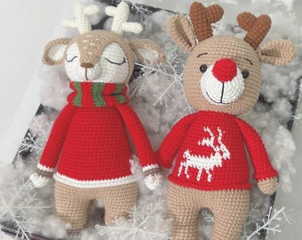 Crochet reindeer antlers - red stuffed animal plushie for Christmas decorations & gift box
