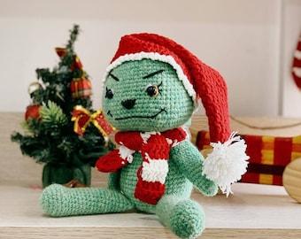 Little baby GRlNCH crochet doll for Christmas home decoration or stocking stuffer gift