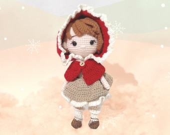 Little red riding hood baby doll - once upon a time handmade crochet amigurumi doll for baby shower and first Thanksgiving Christmas gift