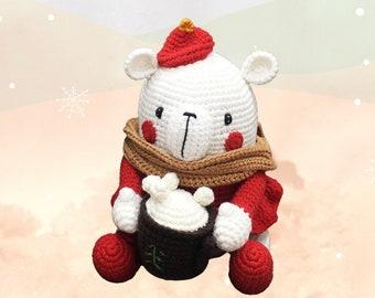 White marshmallow bear celebrating Christmas - crochet teddy stuffed animal for secret Santa gift box