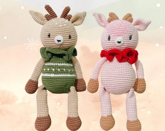 Christmas deer doll stuffed animal - green and pink crochet antler plush for baby first toy and bedtime friend