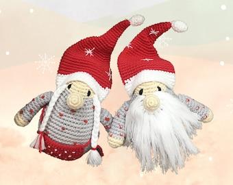 Grandpa grandma elf couple - Christmas crochet gnome for festive home decor, baby toys, and stocking stuffer