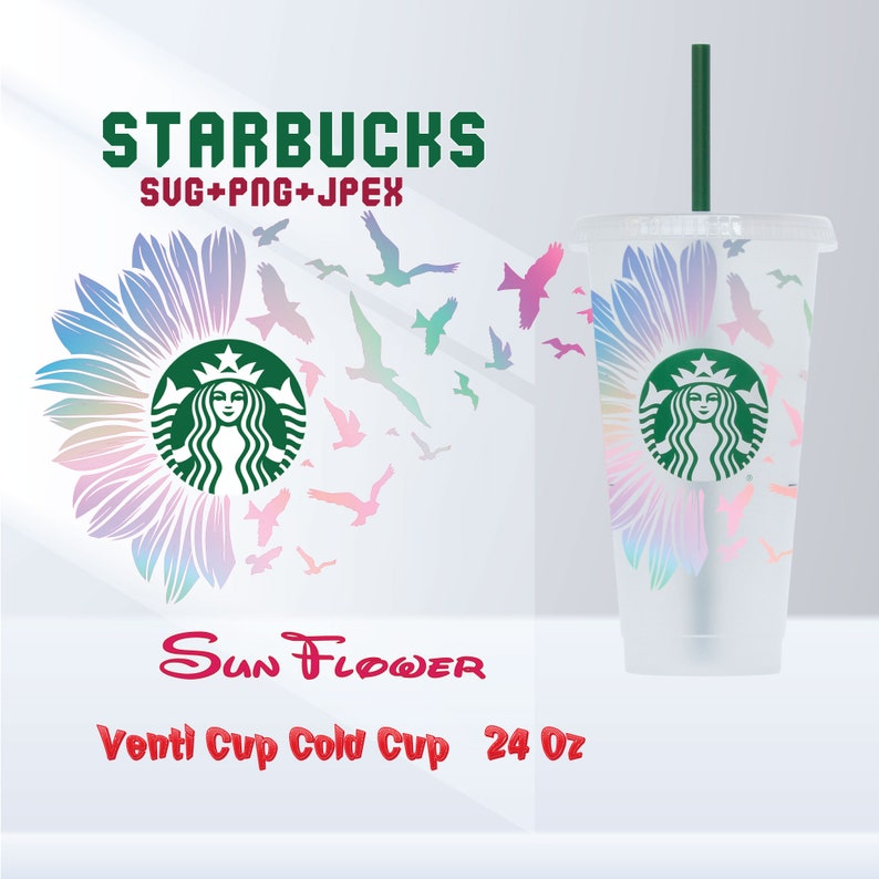cut file Starbucks for DIY projects Sunflower and BIRD Svg Png for DIY Projects