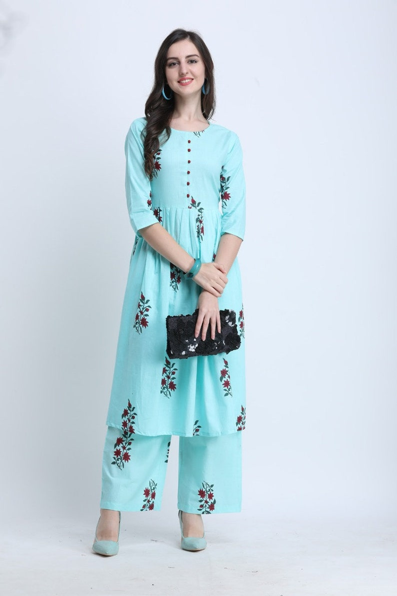 Indian Ethnic Palazzo Straight Kurti Pakistani dress Women Casual Printed Kurti Pent Dress Party wear dress for women and girl