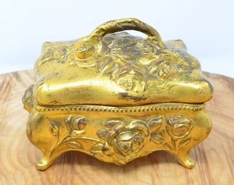 Art Nouveau Box Gilt Jewellery Trinket Box with Pink Lining by Wade Mfg Co.
