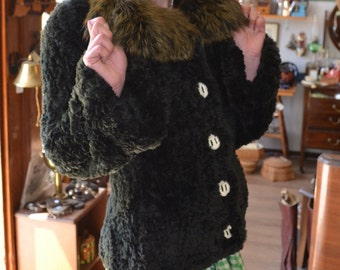 Knit Beaver and Fox Collar Fur Coat with Antler Buttons by Paula Lishman Made in Canada One of a Kind Woven Jacket