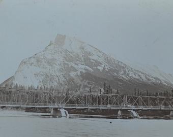 Banff Bridge & Mt. Rundle Original Photograph Gelatin Silver Print by William G. Barclay