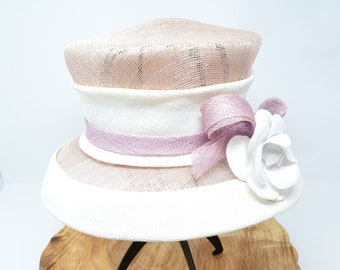 Vintage Pink and White Straw Frederick Fox Royal Ladies Hat with Faux Flower from Harrod's Knightsbridge with Original Box