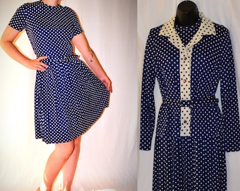 D'allaird's Polkadot 1960s Dress Navy Blue and White with matching Belt and Blouse