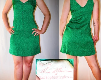 Anne Klein Dress 1960s Vintage Junior Sophisticates of New York Green Textured A-Line Dress