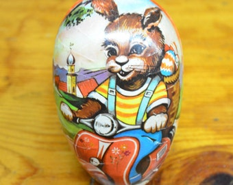 Vintage Paper Craft Easter Egg -- Bunny on Vespa (Made in West Germany)