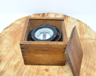 Antique Tall Ship Binnacle or Compass in Wood Dovetailed Box by Star Boston for C.C. Gailbraith & Son of New York