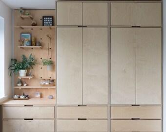 Bespoke size plywood wardrobe