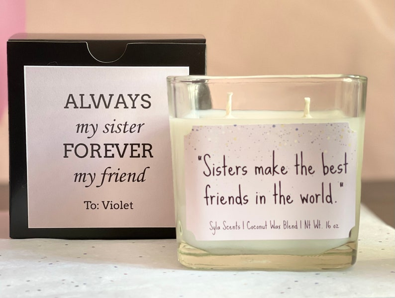 Personalized Homemade Essential Oil Candle Gift Set for Sister \u2013 Coconut Soy Wax Blend \u2013 A Perfect Display of Love for Your Sister