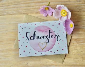 "Card set with envelopes, ""Sister Heart"" (5 set)"