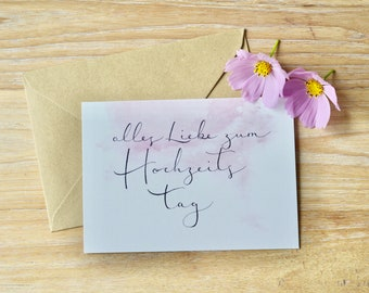 """Card set with envelopes """"All love for the wedding day"""" (5 parts)"""