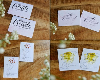 Card set with watercolours and calligraphy (set of 8)