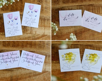 Calligraphy Card Set with Biblical Sayings and Watercolors Motifs (Set of 8)