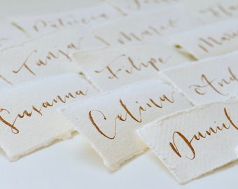 Table cards with handwritten calligraphy for special occasions