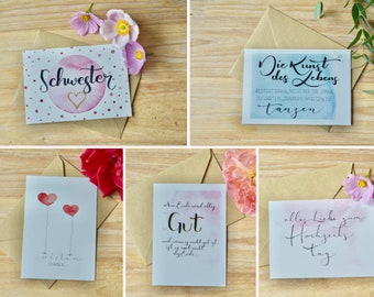 Card set with different sayings and watercolor (set of 5 with envelopes)