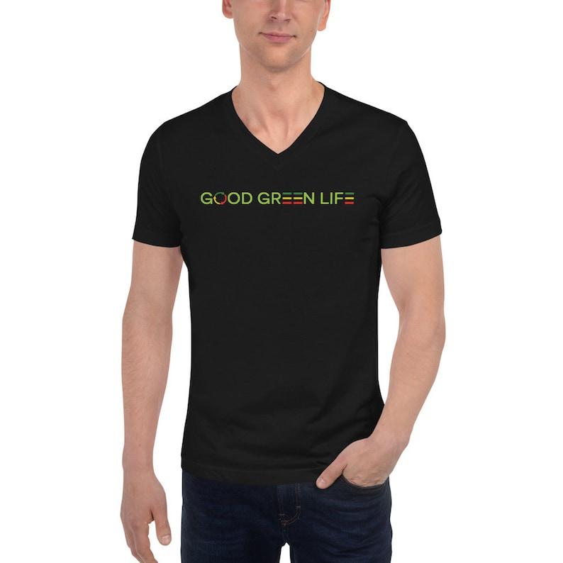 V-Neck Tee: Linear Logo Good Green Life Brand image 0