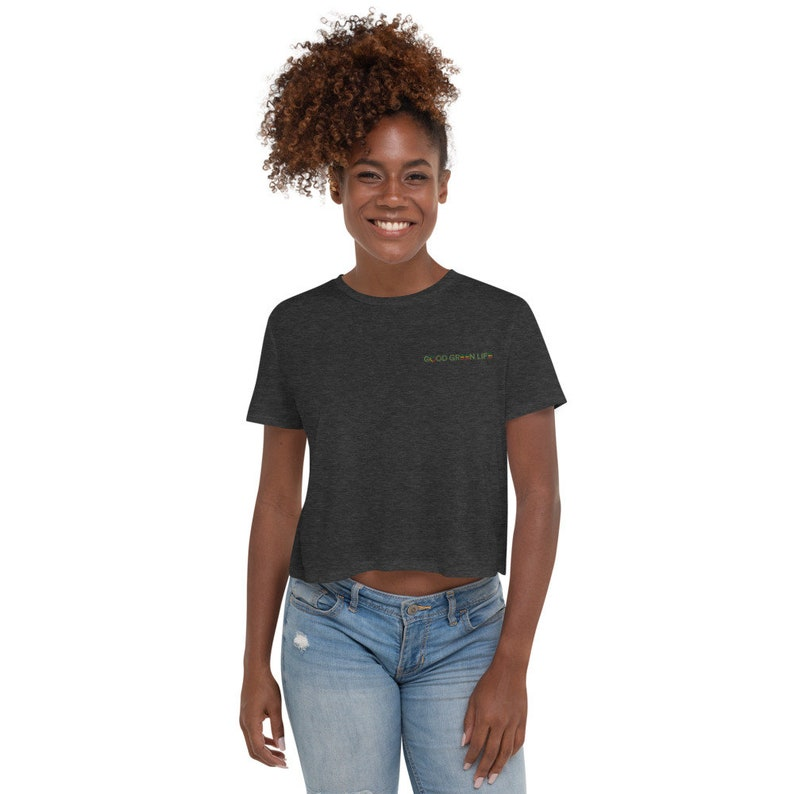 Flowy Crop Tee: Embroidered Linear Logo Good Green Life image 0