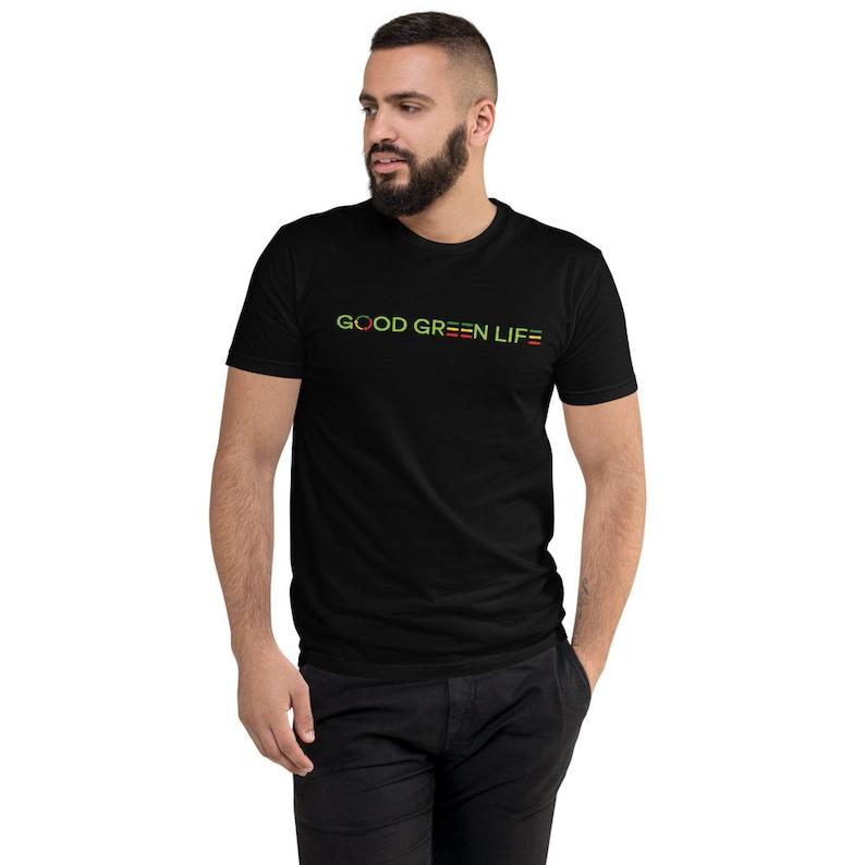 Short Sleeve Tee: Linear Logo Good Green Life Brand image 0