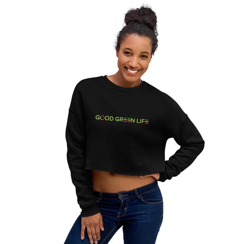 Crop Sweatshirt: Linear Logo Good Green Life Brand image 0