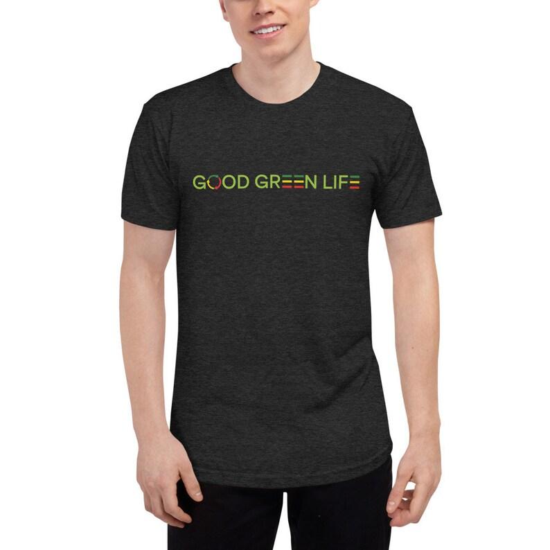 Tri-Blend Track Tee: Linear Logo Good Green Life Brand image 0