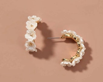 Floral Lace Earrings with Gold Trim Feeling Glowing