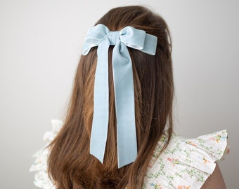 Blue velvet bow with pearlsspecial occasion bowclip bow