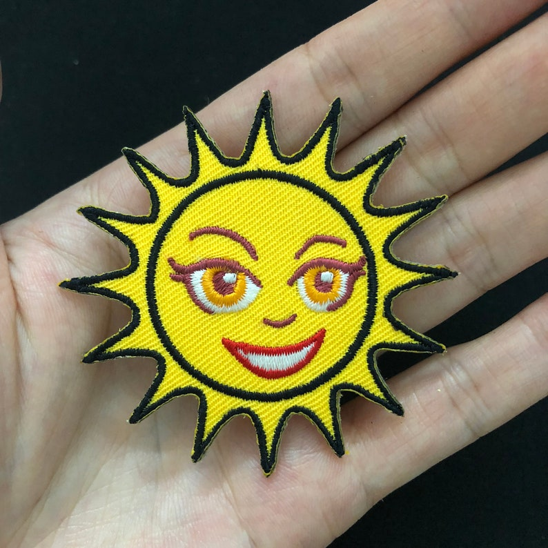 smile sun iron on patch embroidered PATCH embroidery cute funny