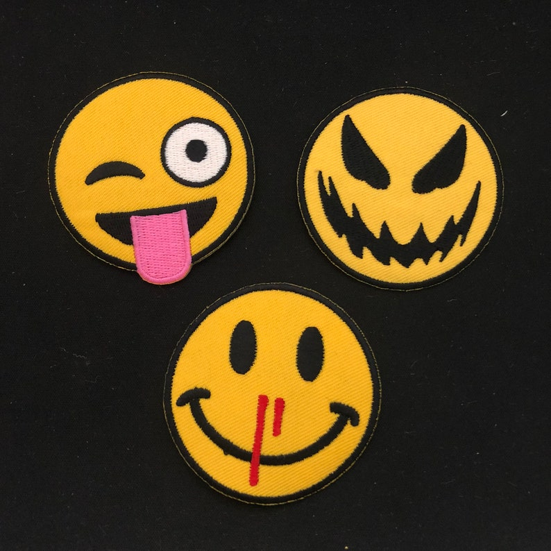 a set Emoticons iron on patch laugh cute  kiss embroidered PATCH embroidery cute funny