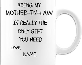 PERSONALIZED best mother-in-law coffee mugs from child . 11 oz High Quality And Memorable Keepsake Gift From Anyone.11ozW