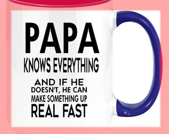 Papa Knows Everything Grandpa Coffee Mug For Grandpas. High Quality And Memorable Keepsake Gift From Anyone. the perfect pop gifts for grand