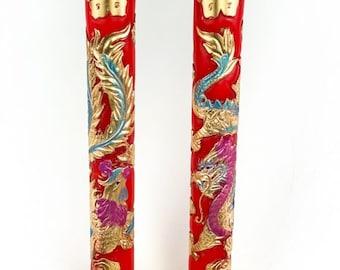 Dragon & Phoenix Candles (35cm) Traditional Wedding Morning Ceremony Tea Essentials - Pair