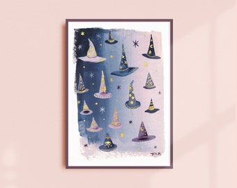 witch hat painting, witchy art, witch hats, gold paint, hand embellished, giclee print, wall decor, boho art, watercolor art, cute witch art