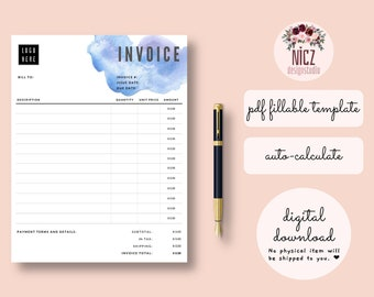 Fillable Invoice Etsy