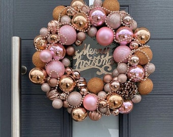 Christmas Wreath Rose Gold Champagne Christmas Ornament Etsy