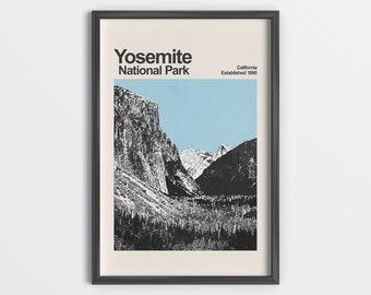 Yosemite National Park - Mid-Century Travel Poster - National Park Poster - Minimalist Art Print - California Poster - Yosemite Poster