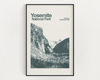 Yosemite National Park Poster - Minimalist Wall Art - National Park Prints - California Poster