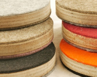 Pot coasters made of plywood and felt small upcycling