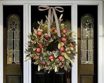 Pomegranate wreath fall wreath - megranate wreath autumn wreath, Halloween decorative wreath, door decorative wreath