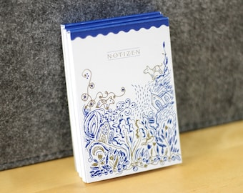 Set - 3 notepads A7 - 50 sheets each - 80 g natural paper - callable with illustrative cover