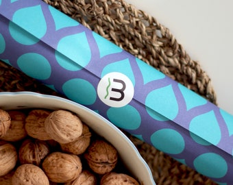 3 sheets of gift wrapping paper per size 50 x 70 cm with drops turquoise blue-violet 120g natural paper