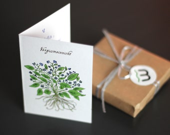 Set of 5 pieces - Greeting card Forget-me-not - Size A7 - including envelope