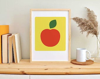 2 Images Illustration Icon Motifs Fruit Orange Apple Size A5 Rounded Corners Offset Print on Natural Paper