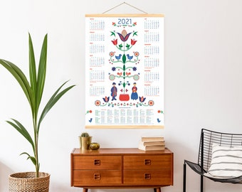 Poster Calendar 2021 Holiday dates and nationwide holidays cheerfully colorfully decorated illustrated