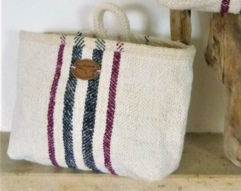 """Hanging basket """"Fiete"""" from German grain sack, around 1900 handwoven linen, purple and black stripes, sustainably produced"""